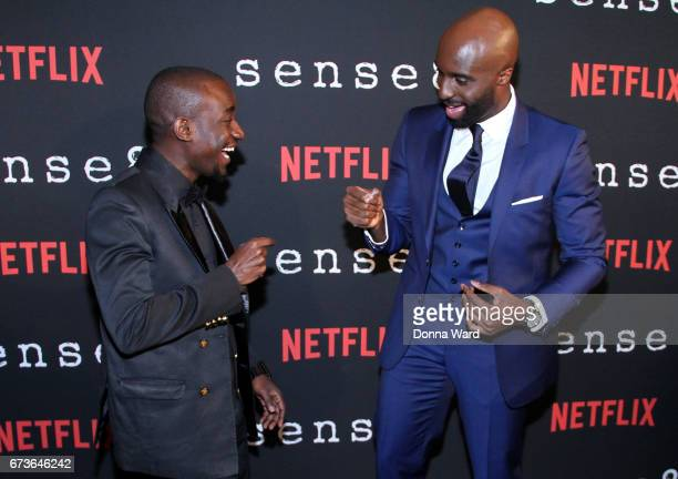 Paul Ogola and Toby Onwumere attend the 'Sense8' New York Premiere at AMC Lincoln Square Theater on April 26 2017 in New York City