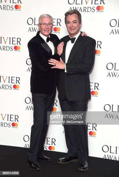 Paul O'Grady and Julian Clary pose in the winners room at The Olivier Awards 2017 at Royal Albert Hall on April 9 2017 in London England