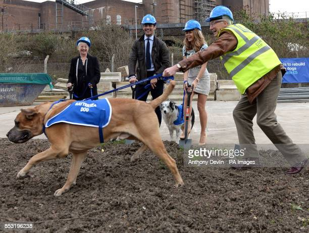 Paul O'Grady with Freddie a fouryearold English Mastiff as Dame Jacqueline Wilson David Gandy and Amanda Holden look on during the redevelopment...