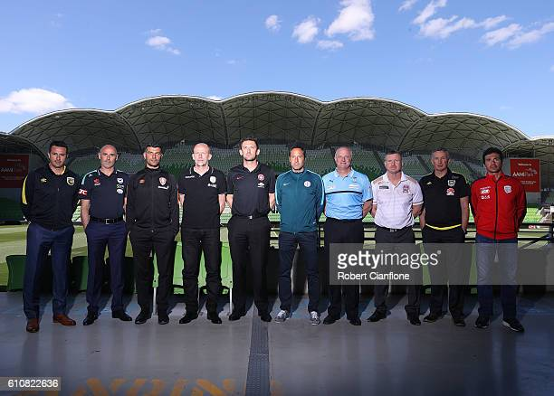 Paul Okon of the Central Coast Mariners Kevin Muscat of Melbourne Victory John Aloisi of Brisbane Roar FC Kenny Lowe of Perth Glory Tony Popovic of...