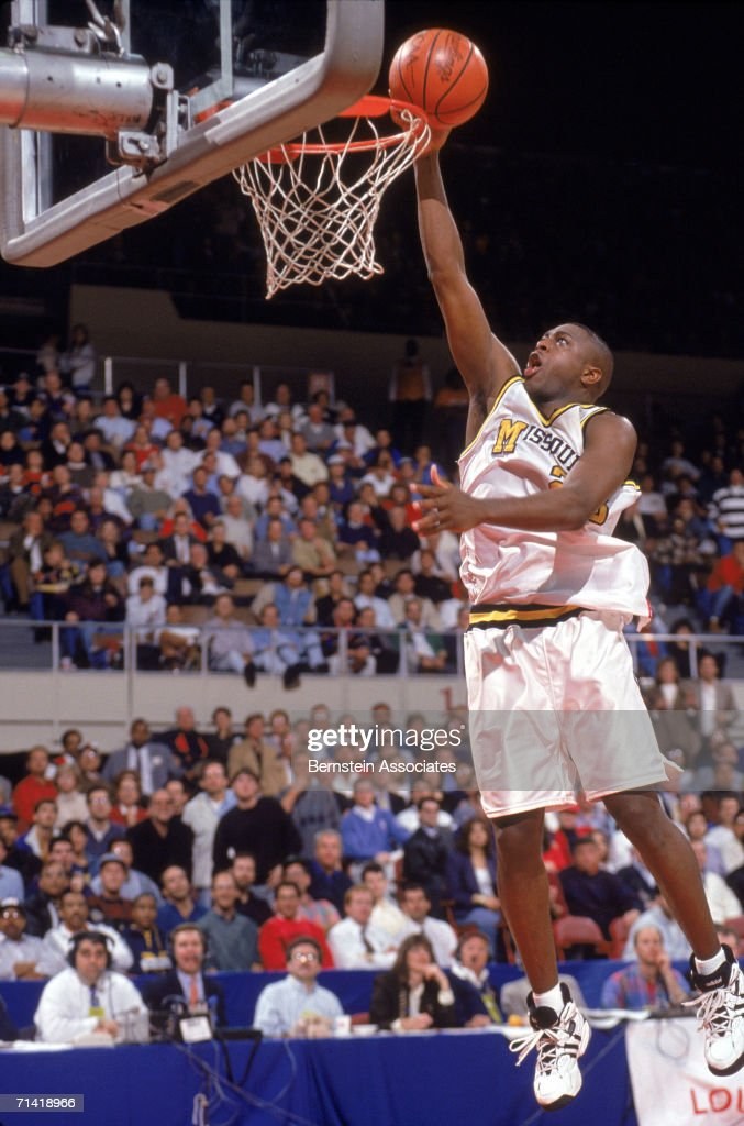Paul O'Liney of the University of Missouri Tigers makes a layup during a 1994 Western Regionals game.