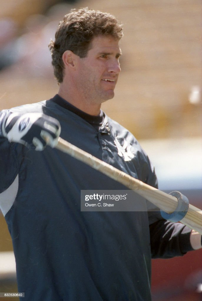 Paul O'Neill of the New York Yankees prepares to take BP against the Los Angeles Dodgers in a pre season game at Dodger Stadium circa 1999 in Los Angeles, California.
