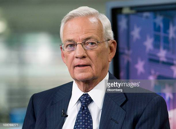 Paul O'Neill special adviser to Blackstone Group LP and former US treasury secretary speaks during a television interview in New York US on Thursday...