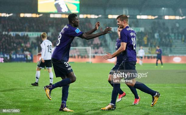 Paul Onuachu and Alexander Sorloth of FC Midtjylland celebrate after scoring their fourth goal during the Danish Alka Superliga match between FC...