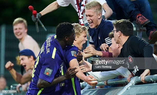 Paul Onuachu and Rasmus Nissen of FC Midtjylland celebrate after scoring their second goal during the Danish Alka Superliga match between Hobro IK...
