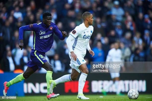 Paul Onuachu of FC Midtjylland and Mathias Zanka Jorgensen of FC Copenhagen compete for the ball during the Danish Alka Superliga match between FC...