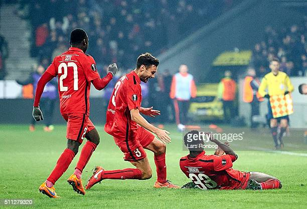 Paul Onuachu of FC Midtjylland celebrates after scoring their second goal during the UEFA Europa League match between FC Midtjylland and Manchester...