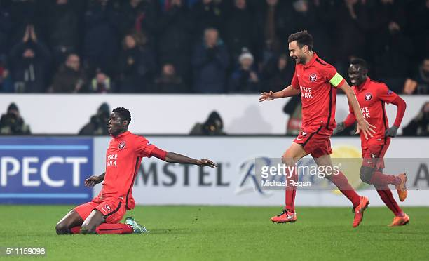 Paul Onuachu of FC Midtjylland celebrates scoring his team's second goal during the UEFA Europa League round of 32 first leg match between FC...