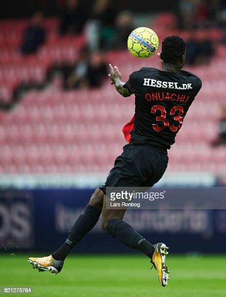 Paul Onuachu of FC Midtjylland controls the ball during the Danish Alka Superliga match between FC Midtjylland and Silkeborg IF at MCH Arena on July...
