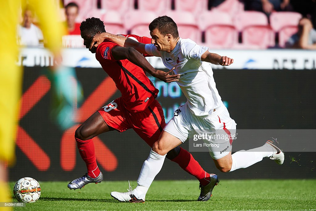 Paul Onuachu of FC Midtjylland in action during the Europa League Qualifier match between FC Midtjylland and FK Suduva at MCH Arena on June 30, 2016 in Herning, Denmark.