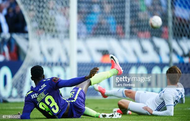 Paul Onuachu of FC Midtjylland with a big opportunity during the Danish Alka Superliga match between FC Copenhagen and FC Midtjylland at Telia Parken...