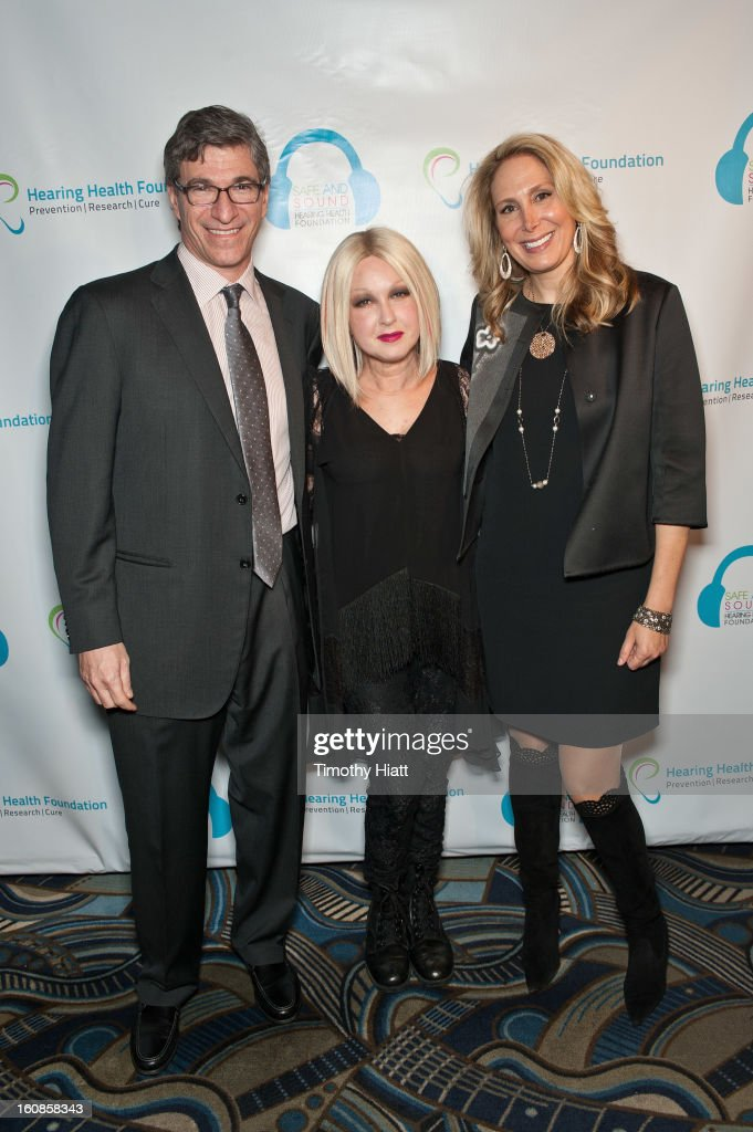 Paul Orlin, Cyndi Lauper and Victoria Orlin attend the Hearing Health Foundation's An Intimate Evening with Cyndi Lauper at B.B. King Blues Club & Grill on February 6, 2013 in New York City.