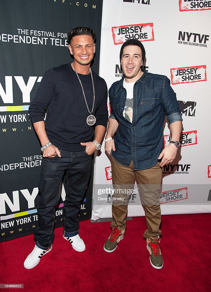 Paul 'Pauly D' DelVecchio and <a gi-track='captionPersonalityLinkClicked' href=/galleries/search?phrase=Vinny+Guadagnino&family=editorial&specificpeople=6693900 ng-click='$event.stopPropagation()'>Vinny Guadagnino</a> attends 'Love, Loss, (Gym, Tan) and Laundry: A Farewell To The Jersey Shore' during the 2012 New York Television Festival at 92Y Tribeca on October 24, 2012 in New York City.