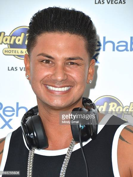 Paul 'Pauly D' DelVecchio arrives at the Hard Rock Hotel Casino to close out his Rehab Beach Club pool party residency on August 21 2016 in Las Vegas...