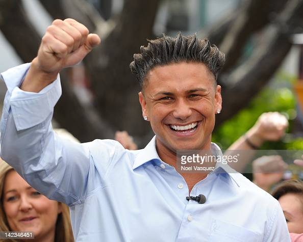 Paul 'Pauly D' DelVecchio visits 'Extra' at The Grove on April 2 2012 in Los Angeles California