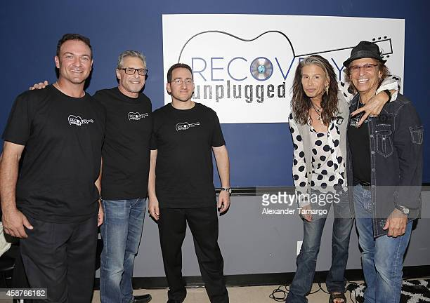 Paul Pellinger Marshall Geisser Andrew Sossin Steven Tyler and Richie Supa are seen at Recovery Unplugged on November 10 2014 in Fort Lauderdale...
