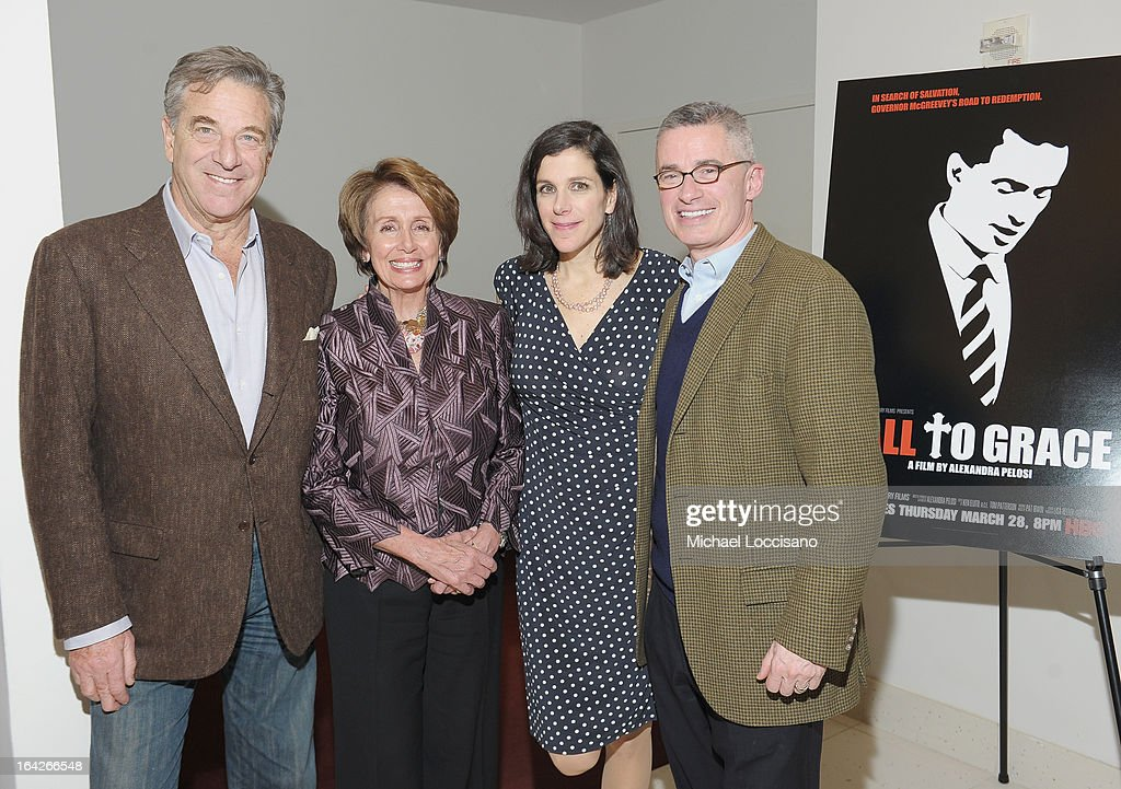 Paul Pelosi, his wife, Congresswoman Nancy Pelosi, her daughter, filmmaker Alexandra Pelosi, and film subject, former NJ Governor Jim McGreevey attend the New York premiere of the HBO documentary Fall to Grace at Time Warner Center Screening Room on March 21, 2013 in New York City.