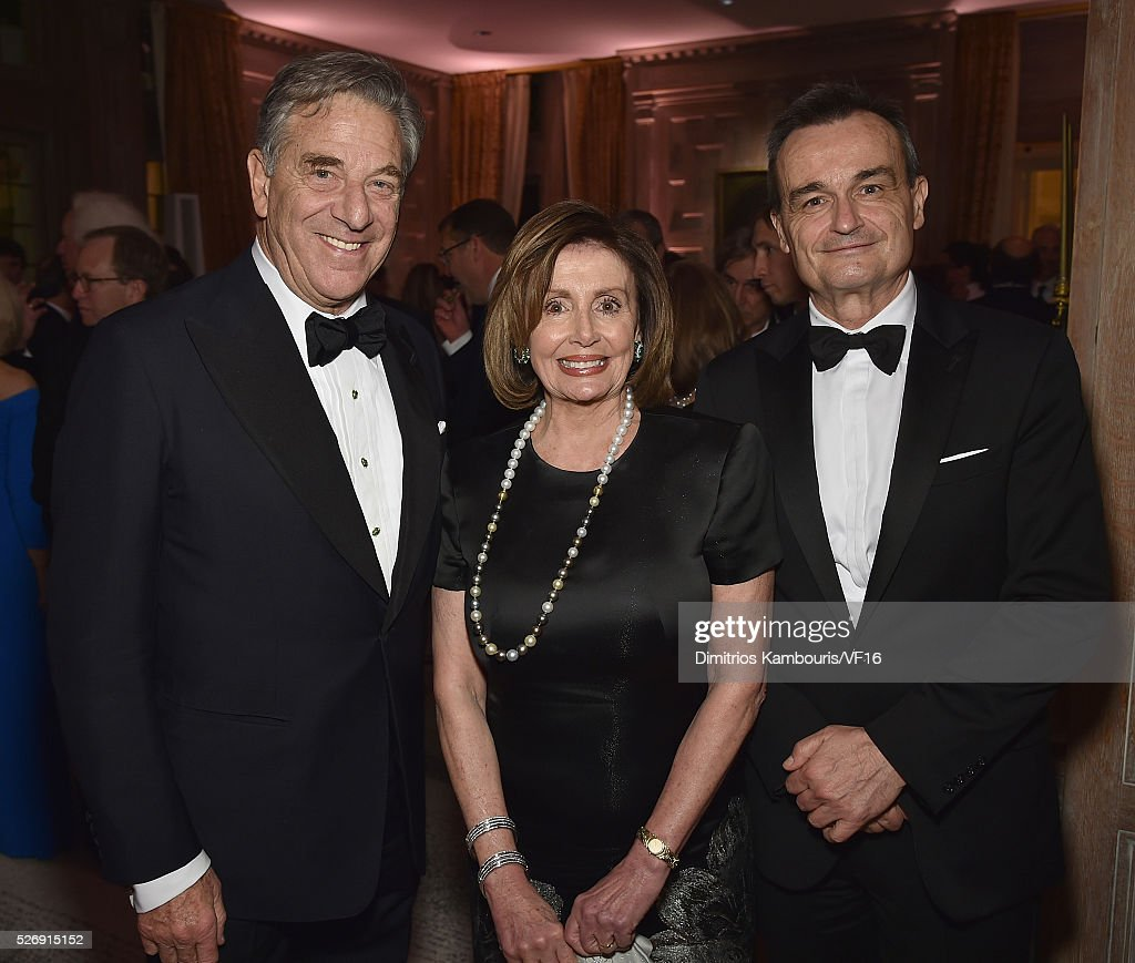 Paul Pelosi, Nancy Pelosi and French ambassador to the U.S., Gerard Araud attend the Bloomberg & Vanity Fair cocktail reception following the 2015 WHCA Dinner at the residence of the French Ambassador on April 30, 2016 in Washington, DC.