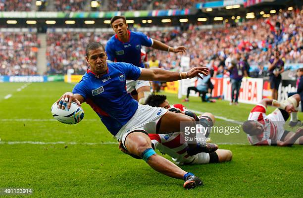 Paul Perez of Samoa scores his teams first try during the 2015 Rugby World Cup Pool B match between Samoa and Japan at Stadium mk on October 3 2015...