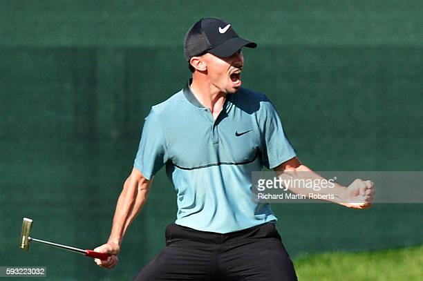 Paul Peterson of United States celebrates after holing his putt on the 18th hole to win the tournament during day four of the DD REAL Czech Masters...