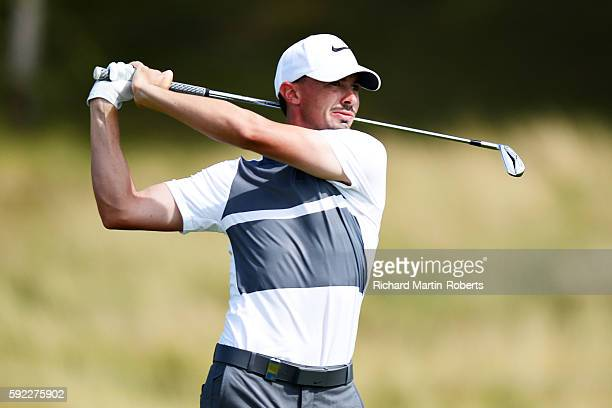 Paul Peterson of United States takes his second shot on the 17th hole during day three of the DD REAL Czech Masters at Albatross Golf Resort at...