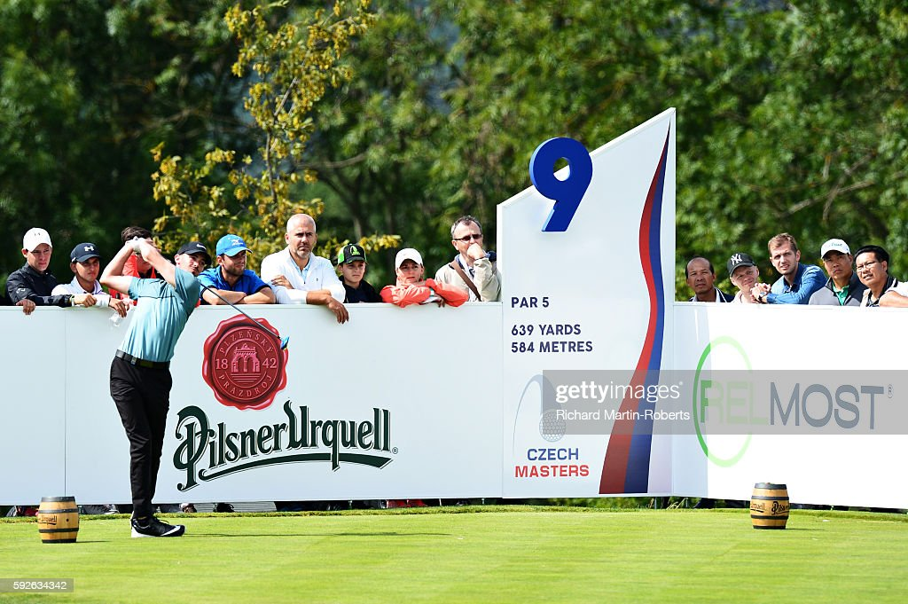 Paul Peterson of United States tees off on the 9th hole during day four of the DD REAL Czech Masters at Albatross Golf Resort on August 21 2016 in...