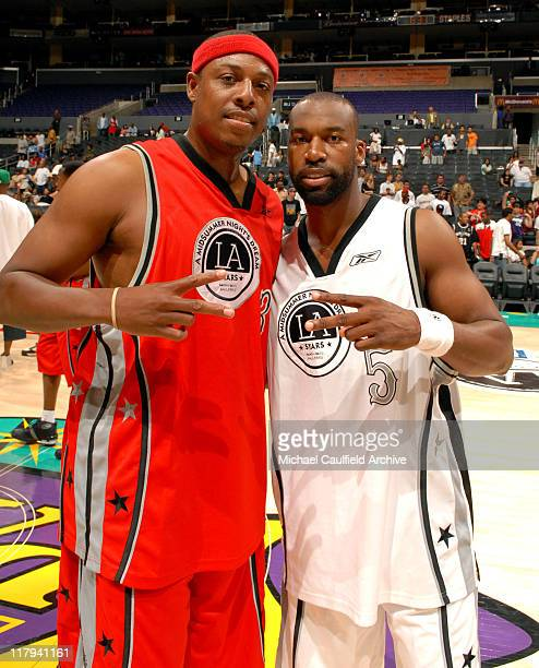 Paul Pierce and Baron Davis during A Midsummer Night's AllStar Basketball Game on July 9 2006 at the Staples Center in Los Angeles Calif