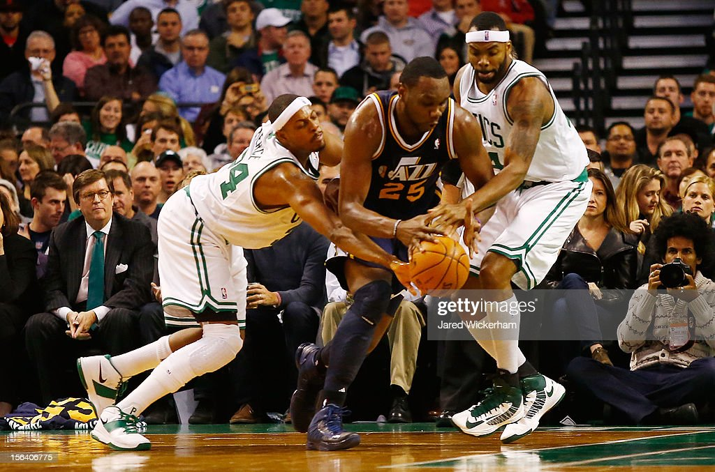 <a gi-track='captionPersonalityLinkClicked' href=/galleries/search?phrase=Paul+Pierce&family=editorial&specificpeople=201562 ng-click='$event.stopPropagation()'>Paul Pierce</a> #34 and <a gi-track='captionPersonalityLinkClicked' href=/galleries/search?phrase=Chris+Wilcox&family=editorial&specificpeople=202038 ng-click='$event.stopPropagation()'>Chris Wilcox</a> #44 of the Boston Celtics steal the ball from <a gi-track='captionPersonalityLinkClicked' href=/galleries/search?phrase=Al+Jefferson&family=editorial&specificpeople=201604 ng-click='$event.stopPropagation()'>Al Jefferson</a> #25 of the Utah Jazz during the game on November 14, 2012 at TD Garden in Boston, Massachusetts.
