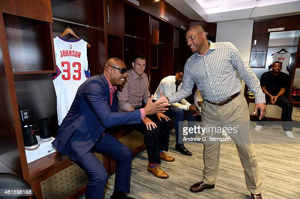 Paul Pierce and Doc Rivers of the Los Angeles Clippers shake hands in the locker room before a press conference at STAPLES Center on July 21 2015 in...
