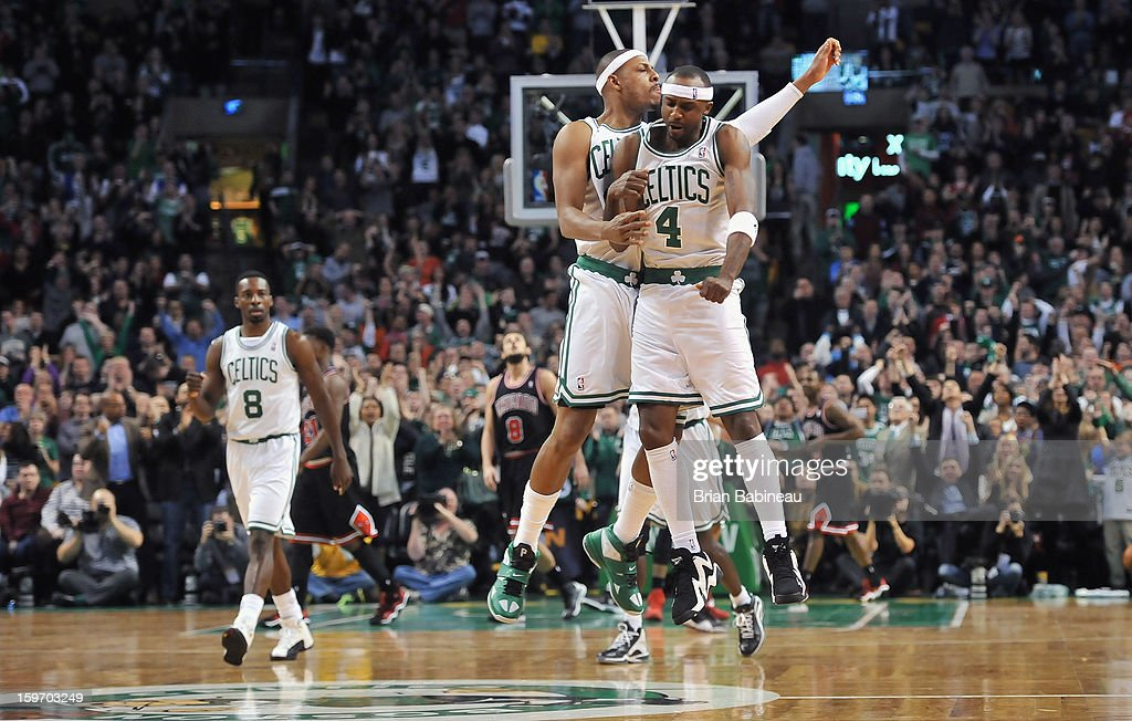 Paul Pierce #34 and Jason Terry #4 of the Boston Celtics celebrate against the Chicago Bulls on January 18, 2013 at the TD Garden in Boston, Massachusetts.