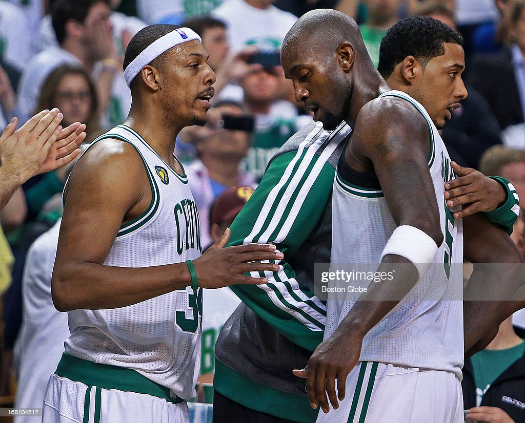 Paul Pierce and Kevin Garnett at the end of the game. The Boston Celtics hosted the New York Knicks for Game Six of the NBA Eastern Conference Quarterfinals at the TD Garden.