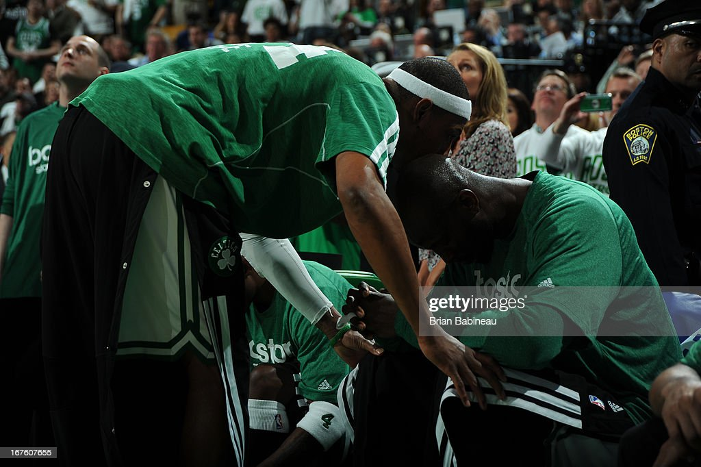 Paul Pierce #34 and Kevin Garnett #5 of the Boston Celtics before the start of the game against the New York Knicks during Game Three of the Eastern Conference Quarterfinals on April 26, 2013 at the TD Garden in Boston, Massachusetts.