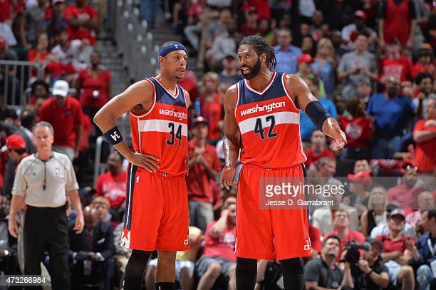 Paul Pierce and Nene Hilario of the Washington Wizards talk things over against the Atlanta Hawks in Game five of the Eastern Conference Semifinals...