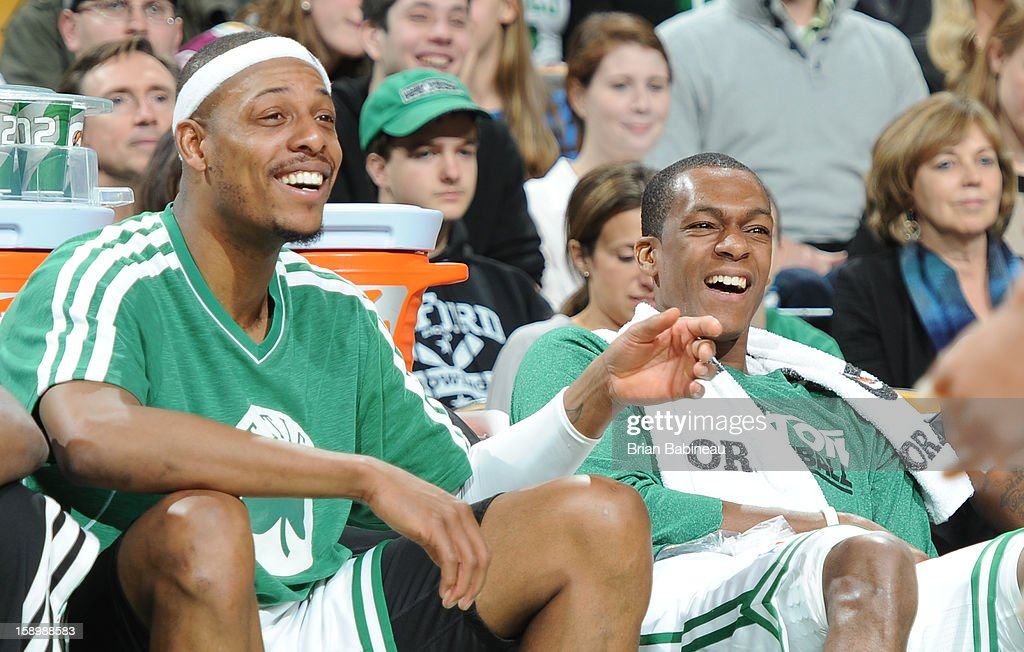 Paul Pierce #34 and Rajon Rondo #9 of the Boston Celtics smile on the bench during the game against the Indiana Pacers on January 4, 2013 at the TD Garden in Boston, Massachusetts.