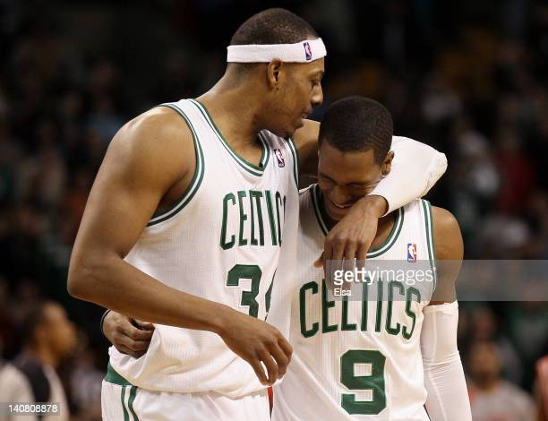 Paul Pierce celebrates the win with teammate Rajon Rondo of the Boston Celtics on March 6 2012 at TD Garden in Boston Massachusetts The Boston...