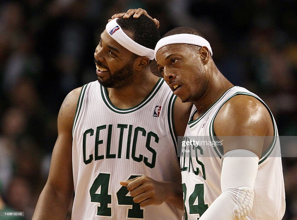 <a gi-track='captionPersonalityLinkClicked' href=/galleries/search?phrase=Paul+Pierce&family=editorial&specificpeople=201562 ng-click='$event.stopPropagation()'>Paul Pierce</a> #34 celebrates with teammate <a gi-track='captionPersonalityLinkClicked' href=/galleries/search?phrase=Chris+Wilcox&family=editorial&specificpeople=202038 ng-click='$event.stopPropagation()'>Chris Wilcox</a> #44 of the Boston Celtics on March 2, 2012 at TD Garden in Boston, Massachusetts. The Boston Celtics defeated the New Jersey Nets 107-94.
