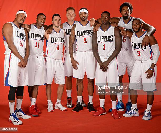 Paul Pierce Jamal Crawford JJ Redick Blake Griffin Josh Smith Lance Stephenson DeAndre Jordan and Chris Paul of the Los Angeles Clippers pose for a...
