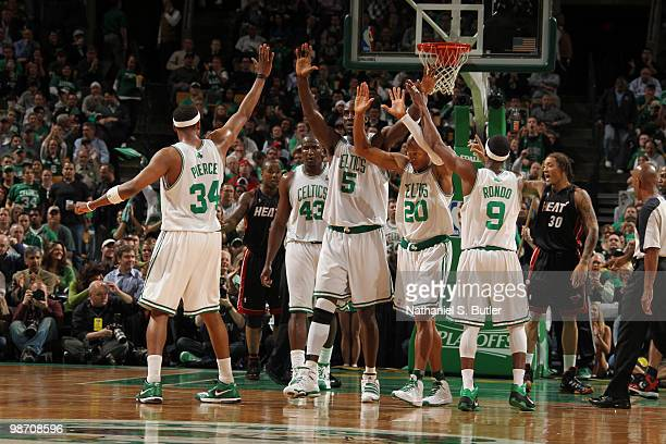 Paul Pierce Kendrick Perkins Kevin Garnett Ray Allen and Rajon Rondo of the Boston Celtics celebrate a play against the Miami Heat in Game Five of...