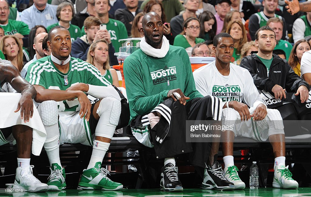 Paul Pierce #34, Kevin Garnett #5, and Rajon Rondo #9 of the Boston Celticson look on during the game against the Philadelphia 76ers December 8, 2012 at the TD Garden in Boston, Massachusetts.