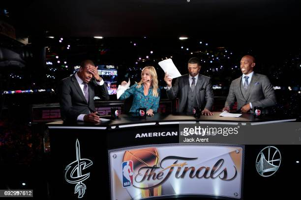 Paul Pierce Michelle Beadle Jalen Rose and Chauncey Billups does halftime of the Cleveland Cavaliers against the Golden State Warriors during Game...
