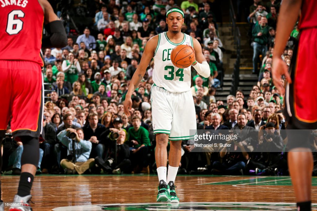 Paul Pierce #34 of the Boston Celtics advances the ball against the Miami Heat on March 18, 2013 at TD Garden in Boston, Massachusetts.