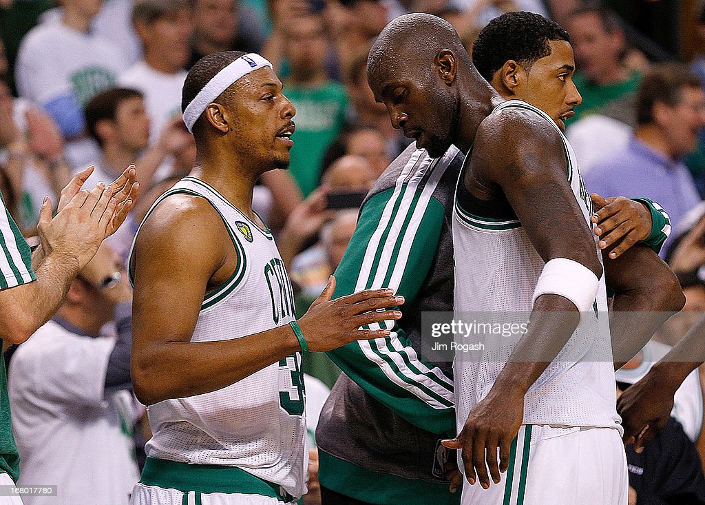 Paul Pierce #34 of the Boston Celtics and Kevin Garnett #5 exchange words in the final moment in the 4th quarter in Game Six of the Eastern Conference Quarterfinals of the 2013 NBA Playoffs on May 3, 2013 at TD Garden in Boston, Massachusetts. The Celtics lost 88-80.