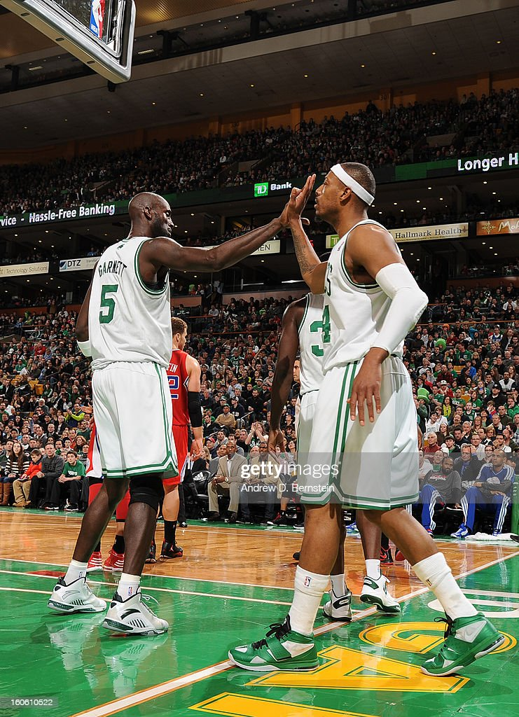 Paul Pierce #34 of the Boston Celtics and Kevin Garnett #5 of the Boston Celtics celebrate during the game between the Boston Celtics and the Los Angeles Clippers on February 3, 2013 at the TD Garden in Boston, Massachusetts.