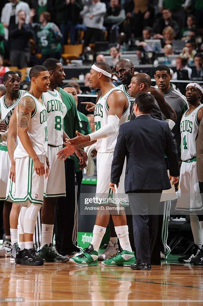 <a gi-track='captionPersonalityLinkClicked' href=/galleries/search?phrase=Paul+Pierce&family=editorial&specificpeople=201562 ng-click='$event.stopPropagation()'>Paul Pierce</a> #34 of the Boston Celtics and teammates celebrate during the game between the Boston Celtics and the Los Angeles Clippers on February 3, 2013 at the TD Garden in Boston, Massachusetts.