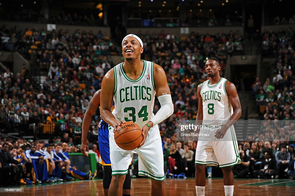 Paul Pierce #34 of the Boston Celtics attempts a foul shot against the Golden State Warriors on March 1, 2013 at the TD Garden in Boston, Massachusetts.