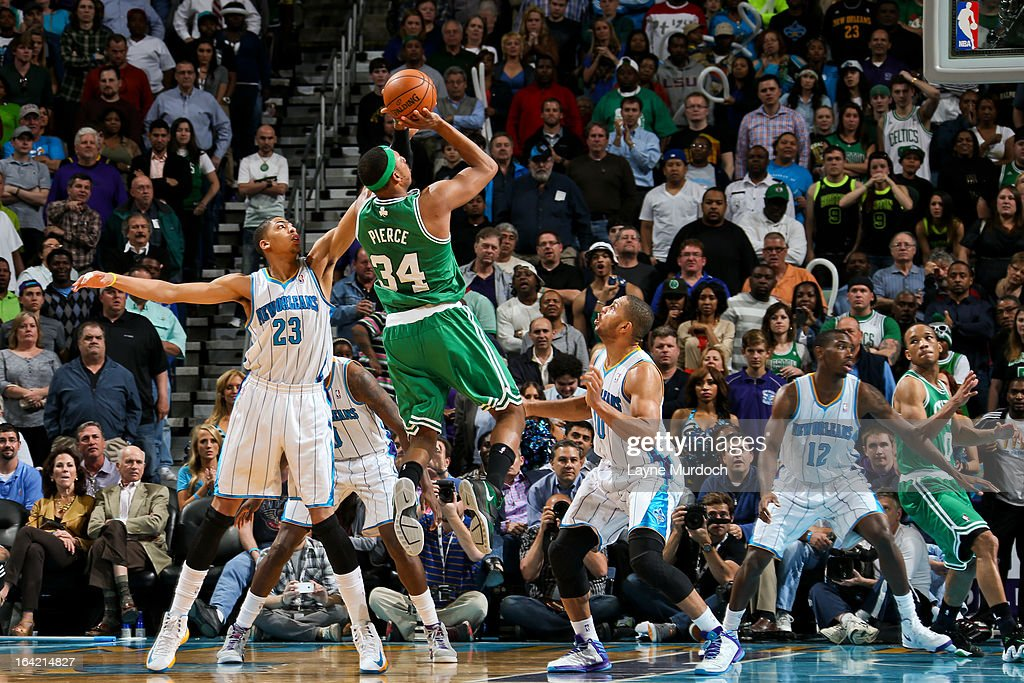 Paul Pierce #34 of the Boston Celtics attempts a shot against Anthony Davis #23 of the New Orleans Hornets on March 20, 2013 at the New Orleans Arena in New Orleans, Louisiana.