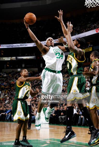 Paul Pierce of the Boston Celtics attempts a shot against Chris Wilcox of the Seattle SuperSonics on March 9 2007 at the TD Banknorth Garden in...