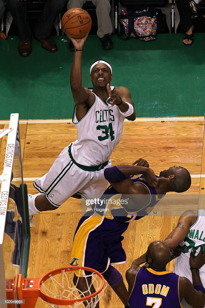 <a gi-track='captionPersonalityLinkClicked' href=/galleries/search?phrase=Paul+Pierce&family=editorial&specificpeople=201562 ng-click='$event.stopPropagation()'>Paul Pierce</a> #34 of the Boston Celtics attempts a shot in the second quarter against <a gi-track='captionPersonalityLinkClicked' href=/galleries/search?phrase=Kobe+Bryant&family=editorial&specificpeople=201466 ng-click='$event.stopPropagation()'>Kobe Bryant</a> #24 of the Los Angeles Lakers during Game Five of the 2010 NBA Finals on June 13, 2010 at TD Garden in Boston, Massachusetts.