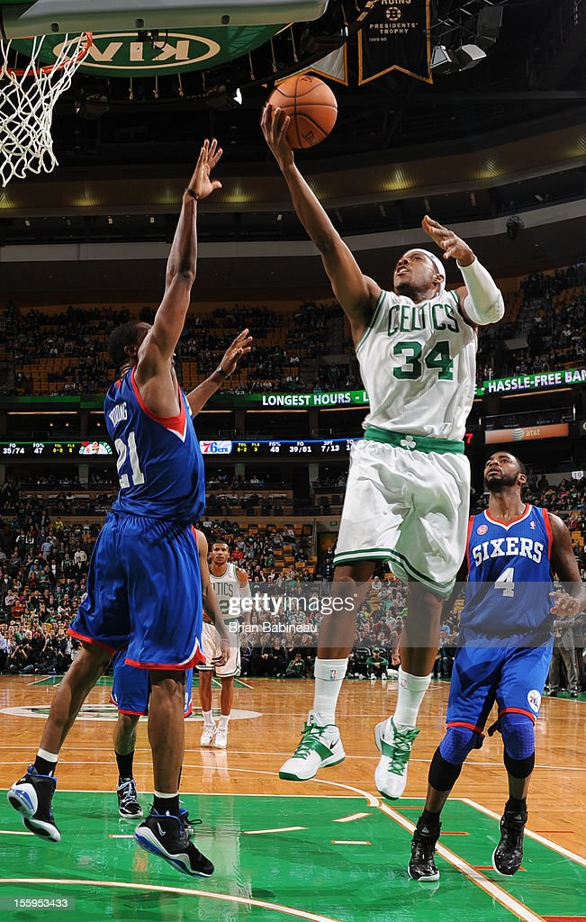 Paul Pierce #34 of the Boston Celtics attempts a shot over Thaddeus Young #21 of the Philadelphia 76ers on November 9, 2012 at the TD Garden in Boston, Massachusetts.