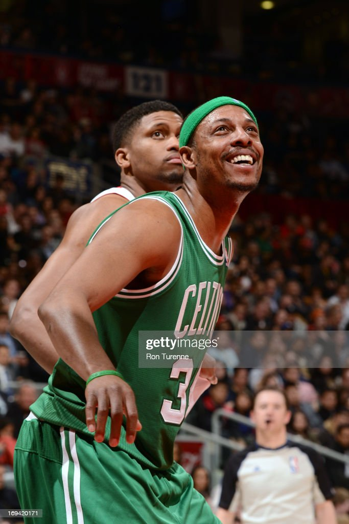 <a gi-track='captionPersonalityLinkClicked' href=/galleries/search?phrase=Paul+Pierce&family=editorial&specificpeople=201562 ng-click='$event.stopPropagation()'>Paul Pierce</a> #34 of the Boston Celtics awaits a rebound against the Toronto Raptors on April 17, 2013 at the Air Canada Centre in Toronto, Ontario, Canada.